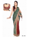 Ready Stitched Blouse Saree simple Mehndi: Ref R47