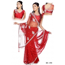 Ready Stitched Blouse Saree Red: Ref R04