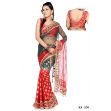 Ready Stitched Blouse Saree Red and Green: Ref R06