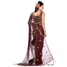 Ready Stitched Blouse Saree Brown: Ref R10