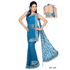 Ready Stitched Blouse Saree Blue Designer: Ref R11