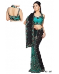 Ready Stitched Blouse Saree Black and Jade: Ref R12