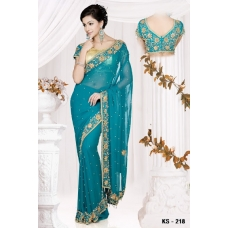 Ready Stitched Blouse Saree Blue Gold Shine: Ref R13