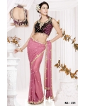 Ready Stitched Blouse Saree Purple Pink: Ref R15