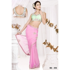 Ready Stitched Blouse Saree Lime Pink: Ref R16