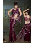 Ready Stitched Blouse Saree Purple Plum: Ref R20