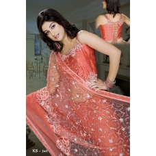 Ready Stitched Blouse Saree Mehndi Burnt Orange: Ref R23