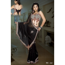 Ready Stitched Blouse Saree Sparkling Black Silver: Ref R24