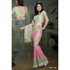 Ready Stitched Blouse Saree Sparkling Green Pink: Ref R25