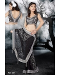 Ready Stitched Blouse Saree elegant Sparkling Silver black: Ref R27
