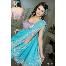 Ready Stitched Blouse Saree elegant  lilac blue: Ref R28