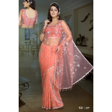 Ready Stitched Blouse Saree Silver Orange: Ref R30