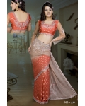 Ready Stitched Blouse Saree Brown Burnt Orange: Ref R31