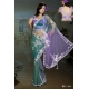 Ready Stitched Blouse Saree Purple Green: Ref R33