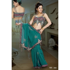 Ready Stitched Blouse Saree Maroon Purple Green: Ref R34