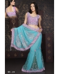 Ready Stitched Blouse Saree Lilac Blue: Ref R40
