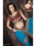 Ready Stitched Blouse Saree Maroon Gold Blue: Ref R41