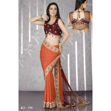 Ready Stitched Blouse Saree Maroon Orange: Ref R43