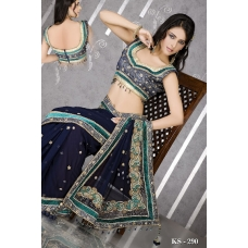 Ready Stitched Blouse Saree Roayl Blue Emerald, Crystal Stonework: Ref R44