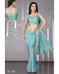 Ready Stitched Blouse Saree Light  Blue: Ref R45