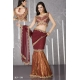 Ready Stitched Blouse Saree Maroon Orange: Ref R46