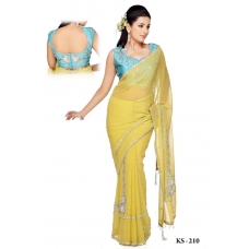 Ready Stitched Blouse Saree Sky Blue: Ref R09