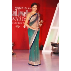 Deepika Padukon blue and emerald net saree: Ref B618