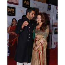 Aishwarya Rai Bachchan green gold red saree: Ref B609
