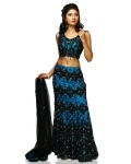 Blue &amp; Black Indian Bridal Lengha: Ref 518