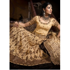 Ivory, Cream, bronze, Antique Indian Bridal Lengha: Ref 503