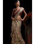 Red &amp; Ivory Indian Bridal Lengha: Ref 521