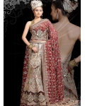 Red, Gold &amp; Maroon Indian Bridal Lengha: Ref 512