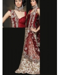 Red and White Indian Bridal Lengha: Ref 505