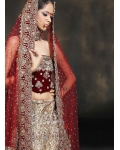 Red &amp; Ivory Indian Bridal Lengha: Ref 522