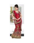 Reg &amp; Green Indian Bridal Lengha: Ref 520