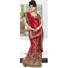 Reg & Green Indian Bridal Lengha: Ref 520