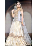 Silver &amp; Ivory Indian Bridal Lengha: Ref 556