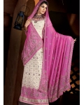 Pink &amp; White Indian Bridal Lengha: Ref 549