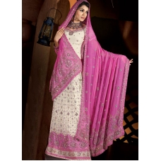 Pink & White Indian Bridal Lengha: Ref 549