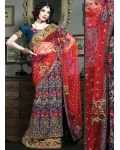 Red, Blue &amp; Ivory Indian Bridal Lengha: Ref 519