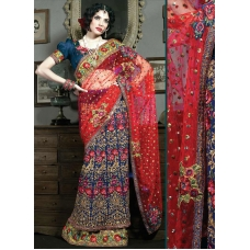 Red, Blue & Ivory Indian Bridal Lengha: Ref 519