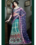 Purple &amp; Blue Indian Bridal Lengha: Ref 523
