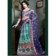 Purple & Blue Indian Bridal Lengha: Ref 523