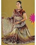 Brown, Bronze & Silver Indian Bridal Lengha: Ref 524
