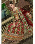 Red, Green, Pink Indian Bridal Lengha: Ref 525