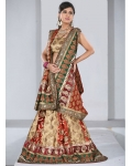 Gold, Green &amp; Ivory Indian Bridal Lengha: Ref 526