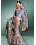 Blue &amp; Gold Indian Bridal Lengha: Ref 513