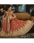 Deep Orange Indian Bridal Lengha: Ref 506
