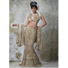 Gold Indian Bridal Lengha: Ref 508