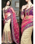 Pink, Purple &amp; Ivory Indian Bridal Lengha: Ref 529